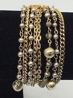 Vintage Signed Lisner Multi Strand Gold Tone Faux Pearl Bracelet