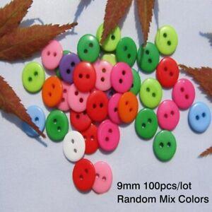 20/100Pcs 9mm Mixed Resin 2 Holes Buttons Sewing Scrapbooking DIY Random Color