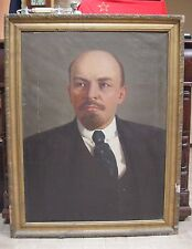 "LENIN BIG portrait Oil Painting 40.55"" x29.13"" Soviet Russia 50-60s USSR"