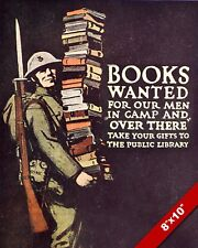 BOOKS WANTED SOLDIER READING POSTER WWI WORLD WAR 1 ART PAINTING CANVAS PRINT