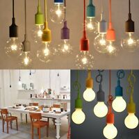 E27 Silicone Home Ceiling Lamp Pendant Holder Light Bulb Hanging Fixture Colors