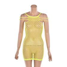 Women  Lingerie Fishnet Bodystocking Mini Dress Babydoll Nightwear Underwear SD