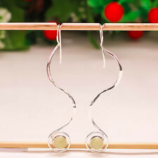 """92.5 STERLING SILVER NATURAL PREHNITE CAB LONG WAVE LOVELY EARRING 3"""" PD-369"""