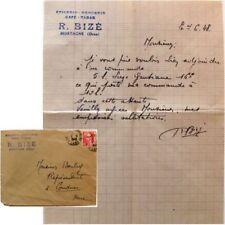 Courrier enveloppe 1948 Epicerie Mercerie Café Tabac R Bizé Mortagne Perche Suze