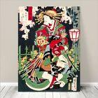 "Beautiful Japanese GEISHA Art ~ CANVAS PRINT 16x12"" Spring by Kuniyoshi"