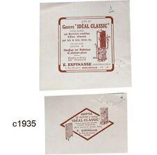 Lot 2 tirages Publicité de presse c1935 E. Espinasse Bourges chaudière Idéal