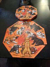 "Vintage 60s GUY COHELEACH Octagonal SPRINGBOK Puzzle PUPPIES 500 Pc 20 3/8"""