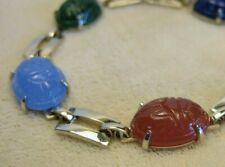 Vintage Gold Plated Jade Amazonite Carnelian Scarab Beetle Tennis Bracelet