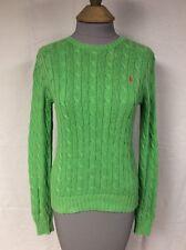Ralph Lauren Women's Green Cable Knit Crewneck Sweater 100% Cotton Size XS