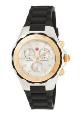MICHELE Tahitian Jelly Bean Chrono Stainless Rose Gold Silicone Watch     NEW