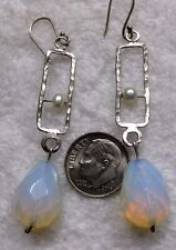 Opal or Moonstone Jewels Earrings #16 By Yam ~ Sterling Silver Pearl &