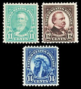 Scott 563-565 1923 11c-14c Perf 11 Flat Plate Issues Mint F-VF HR Cat $10.25