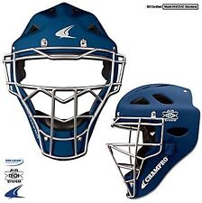 Champro Rubberized Matte Finish Catcher's Hockey Style Helmet & Mask Youth Navy
