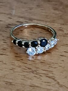 Stunning Gold Plated Ring ~ Eternity ~ Black And White Stones ~ Size P ~ NWOT