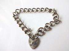Vintage Sterling Silver Full London Hallmarks Heart Padlock Charm Bracelet