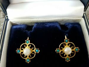 ANTIQUE 9CT TURQUOIOSE & PEARL EARRINGS.      Ref:XAEOd
