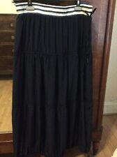 Marccain long blue casual skirt. Size N4. BNWT. Elasticated waist. Tie detail.