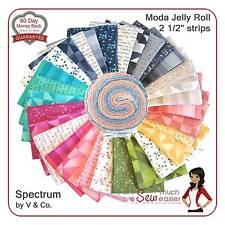 Moda Jelly Roll Spectrum Prism Ombre Modern Quilt Fabrics 80s Retro Mid-century