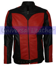 The Dark Knight Rises Crusader Red Black Motorcycle Leather Faux Jacket Costume