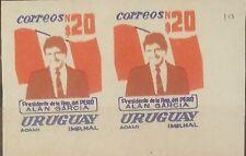 O) 1986 URUGUAY, PROOF IMPERFORATE,PRESIDENT ALAN GARCIA-PERUVIAN FLAG-STATE VI