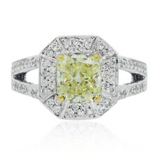 18k White Gold 1.51ct Fancy Yellow Radiant Diamond Engagement Ring