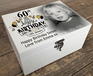 Personalised wooden memory keepsake box, your photo/text printed 60th birthday