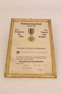 Erinnerungsblatt 1914/18 Ehrenkreuz für Frontkämpfer 1935 gerahmt