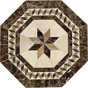 24 Inches Marble Patio Coffee Table Octagon Sofa Table Top with Marquetry Art