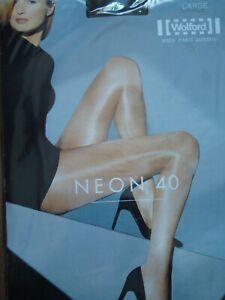 Wolford Neon 40 glossy shiny pantyhose tights hosiery Small Euro Dark Grey