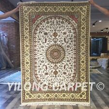 Yilong 4'x6' Persian Silk Rugs Hand Knotted Handmade Vintage Area Carpets Y410C