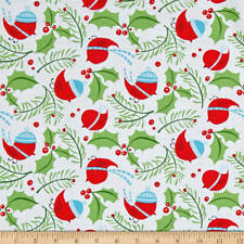 By 1/2 Yard Free Spirit Fabric Merry Christmas David Walker Jolly Holly Birds
