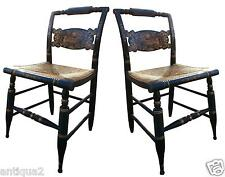 PAIR AUTHENTIC SIGND HITCHCOK PAINTD AMERICAN FEDERAL STY OCASSIONAL SIDE CHAIRS