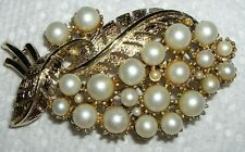 Vintage Gold Tone CORO Faux Pearl BOUQUET Brooch Pin