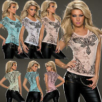 TOP WOMENS BLOUSE LADIES PARTY CLUBBING SEXY TATTOO PRINT SHIRT SIZE 6 8 10 12