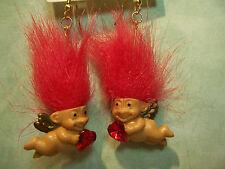 """VALENTINE CUPID EARRINGS - 2"""" Russ Troll Dolls - NEW IN PACKAGE"""