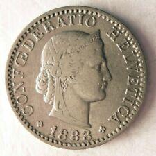 1883 SWITZERLAND 20 RAPPEN - LOW MINTAGE - Excellent Coin - Lot #J2