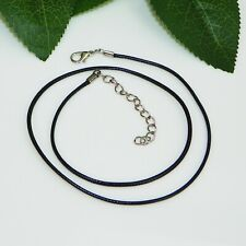 "18"" Black Faux Leather Waxed Cord Necklace w/ 2 inch Extension Link"
