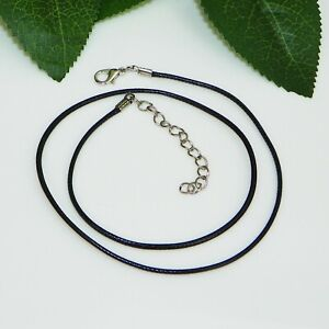 """18"""" Black Faux Leather Waxed Cord Necklace w/ 2 inch Extension Link"""