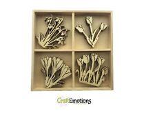 Boîte de 20 en bois formes ornements fleurs de printemps #0237