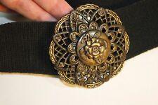 VTG Skaffles Bronze Metal Rose Medallion Accent Buckle Stretch Ladies Belt Black
