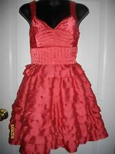 CHARLOTTE RUSSE Coral Satin Formal Ruffle Keyhole Back Party Dress Womens Jrs 1