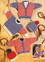 """Baby Stripe Nautical Cardigan Sweater & Hat 14"""" - 20""""  DK Knitting Pattern"""