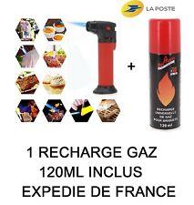 Mini Chalumeau +1 RECHARGE GAZ 120ML  cuisine Crème Brulée Volailles  CHICHA ETC