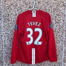 2007 2009 Manchester United LS Home Football SHirt TEVEZ #32 LONG SLEEVED Small
