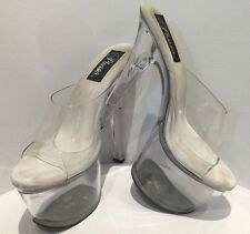 Women's Pleasers Clear Slip On Mules Size 8