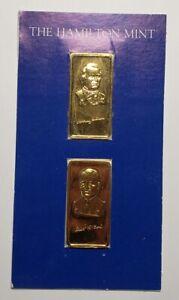 Vintage 1oz .999 Silver Gold Plate Bar Hamilton Mint Johnson Ford Presidents