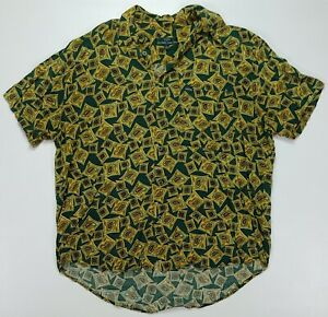 Rare Vintage GUESS by Georges Marciano Paisley All Over Print Rayon Shirt 90s L