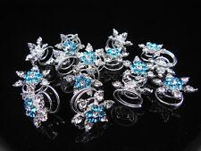 6pcs stunning snowflake blue twist bridal hair pins hair accessories wedding