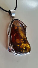 Poland Artisan 925 Sterling Silver Genuine Green Baltic Amber Pendant Necklace