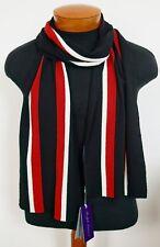 $395 NWT RALPH LAUREN PURPLE Label Black Red White Striped 100% WOOL Long Scarf